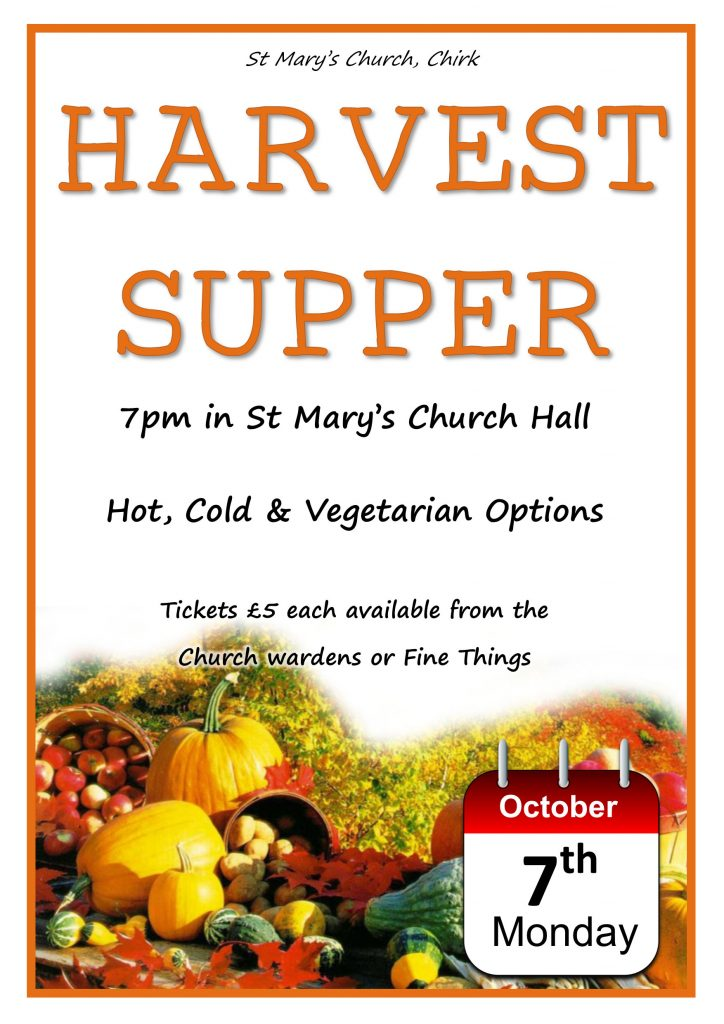 Poster advertising Harvest Supper. All details in the text.